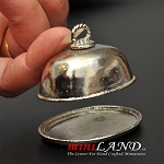 Platter with Lid Silver dollhouse miniature 1:12