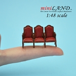 1:48 Scale triple seats THEATER CHAIR dollhouse cinema red leather