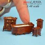 1:48 Scale bathroom set, Toilet, bathtub, sink 3pcs set Walnut