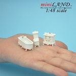 1:48 Scale bathroom set, Toilet, bathtub, sink 3pcs set White