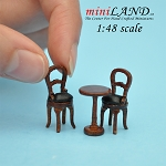 1:48 1/4 quarter scale Bistro table and two chairs 3pcs set Dollhouse miniatures