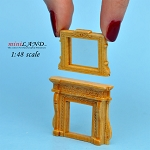 1:48 Scale Fireplace and mirror pine
