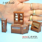 1:48 Scale store shop counters and shelves units 6pcs Walnut - Top Quality