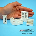 1:48 Scale store shop counters ans shelves units 6pcs WHITE