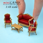 1:48 Scale Victorian living room set, 4pcs Gold Sofa, 2 chairs, coffee table