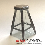 Clearance sale - quality Country stool Rosewood for dollhouse miniature 1:12 scale