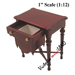 VICTORIAN WOODEN ORNATE Sewing TABLE Dollhouse miniature 1:12 MH