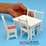 BLACK FRIDAY SALE  -5 pcs Kitchen table with chairs white dollhouse miniature 1:12