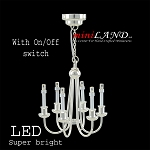 Silver Colonial 6 Arm chandelier  LED Super bright with On/off switch