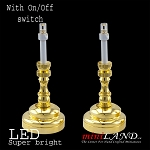 Brass Candlesticks lamp 1 pair  LED Super bright with On/off switch  for 1:12 dollhouse miniature