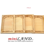 Carved wooden wainscoting panels 4pcs for 1:12 dollhouse miniatures DIY UF