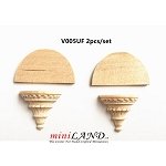 Carved wooden corbels brackets with round shelves 2pcs for 1:12 dollhouse miniatures DIY