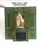 Fireplace panel - Royal Paneling line Green with gold for 1:12 dollhouse miniature