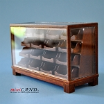 STORE HABERDASHER COUNTER 16 DRAWER UNIT ART DECO Dollhouse miniature 1:12 scale Walnut