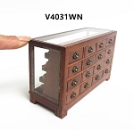 STORE HABERDASHER COUNTER 16 DRAWER UNIT ART DECO Dollhouse miniature 1:12 scale Walnut  metal
