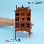 Colonial  DOLLHOUSE FOR DOLLHOUSE WITH TABLE WALNUT 1:144 scale -Top Quality