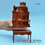 Victorian back opening DOLLHOUSE FOR DOLLHOUSE WITH TABLE WALNUT 1:144 scale -Top Quality