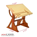Architect's wooden drafting Drawing table with rulers 1:12 dollhouse miniature