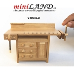 Handcrafted French Country Carpenter's Workbench 1:12 scale for dollhouse miniatures Oak finish