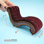 BLACK FRIDAY SALE -Exquisite psychologist couch sofa Chaise Lounge  1:12 scale for dollhouse miniatures MH RED velvet