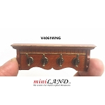 Victorian Wooden walnut Coat rack metal hangers for 1:12 dollhouse miniature