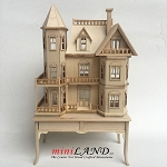 Queen Anne style dollhouse for dollhouse unfinished  for 1:12 dollhouse miniature (1:144 scale)