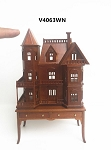 Queen Anne style dollhouse for dollhouse Walnut for 1:12 dollhouse miniature (1:144 scale)