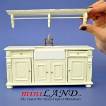 Antique-white Victorian quality Kitchen sink unit counter with shelf metal tap 1:12 dollhouse miniature
