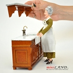 Victorian quality Kitchen sink unit counter with shelf walnut metal tap 1:12 dollhouse miniature