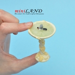 Bird Bath With Bird - Ivory for dollhouse miniature 1:12 scale