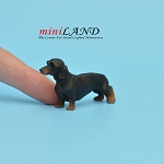 Black Dachshund dog  for dollhouse miniature 1:12 scale