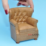 English Armchair for dollhouse miniature 1:12 scale Brown