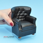 English Armchair for dollhouse miniature 1:12 scale Black
