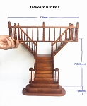 Quality Y Staircase 1:12 Scale Miniature Wooden dollhouse stair WN with rails for 9