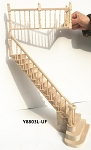 UNFINISHED LEFT Quality Staircase set with railings 1:12 Scale  for 9