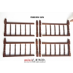 High quality wood railing 4pcs set for 1:12 dollhouse miniature walnut