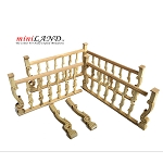 High quality hand crafted wood Baroque railing 4pcs set for 1:12 dollhouse miniature Unfinished banister railing