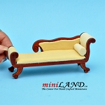 Small Wooden chaise lounge chair with yellow fabric dollhouse miniature