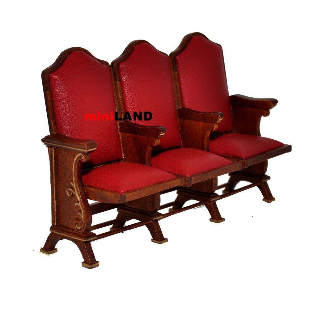 Miniature triple seats THEATER CHAIR dollhouse cinema