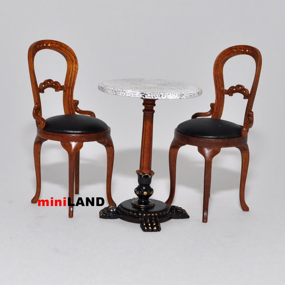 bistro table and 2 chairs quality coffee shop restaurant dollhouse miniature 1. Black Bedroom Furniture Sets. Home Design Ideas