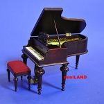 Piano + stool for 1:12 Scale dollhouse miniature wood seat Quality Mahogany