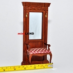 Quality Hall Stand for 1:12 Scale dollhouse miniature wood with seat chair