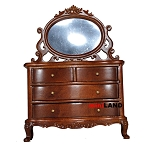 Vanity Table dresser bedroom 1:12 dollhouse miniature drawers mirror wood WN