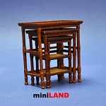 French Country Nesting Tables Dollhouse miniature 1:12 walnut 3pcs set walnut