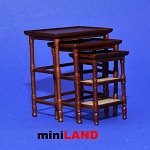 French Country Nesting Tables Dollhouse miniature 1:12 walnut 3pcs set MH
