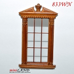 Carved Single Window Corinthian dollhouse miniature 1:12 walnut