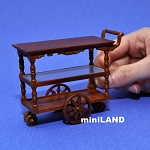 Tea Trolley Cart Quality Liquor service walnut  1:12 scale