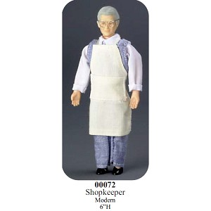 "SHOPKEEPER with OUTFIT vinyl doll 6"" H"