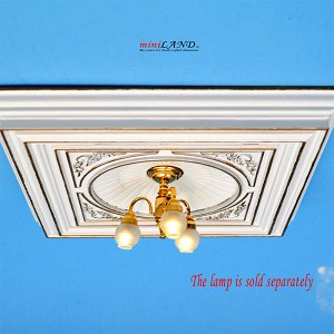 "White Dome with frame 6""x6""  Royal ceiling panel  dollhouse miniature 1:12"