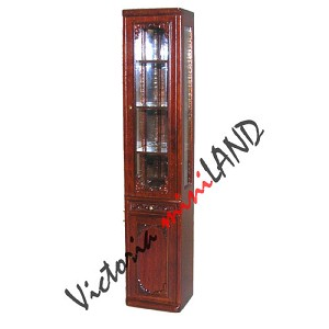 High End Narrow Cabinet for 1900 line dollhouse miniature 1:12 scale walnut